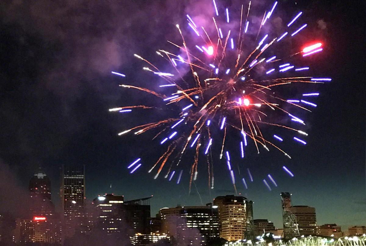 Fireworks over Portland, Oregon, on 4th of July